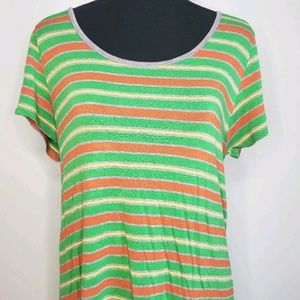 Women's LuLaRoe Striped Green Tunic Top Size M